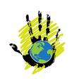 globe on hand vector image