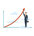 Businessman cloud arrow growth man male suitcase vector image