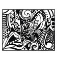 a beautiful black and white doodle art using ink vector image vector image