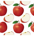 apple and slice seamless pattern vector image