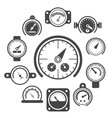 black meter icons set vector image vector image