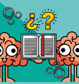 brains cartoon creative idea book learning vector image