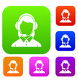 business woman with headset set collection vector image vector image