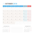 calendar planner for october 2018 vector image vector image