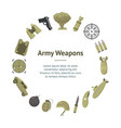 cartoon color army weapons banner card circle vector image