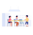 children on lunch school kids eating cafeteria vector image vector image