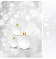 Christmas card with silver decorated balls vector image