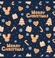 christmas seamless pattern gingerbread cookies vector image vector image