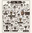 coffee menu with different drinks vector image vector image