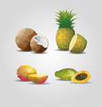 colorful geometric polygonal fruits set vector image vector image