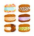 cookie ice cream sandwiches vector image