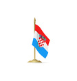 Croatian flag stant on white space vector image vector image