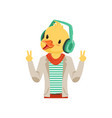 Cute fashion duck chick guy character listening vector image