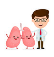 cute funny smiling doctor and healthy happy lungs vector image vector image