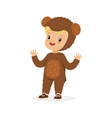 cute happy boy dressed as a bear kids carnival vector image vector image