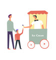 father and son buy ice cream in booth vector image