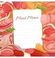 Gastronomic meat products menu design vector image vector image