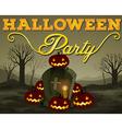 Halloween scene of graveyard vector image vector image