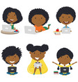 happy african-american girls with laptops vector image vector image