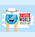 happy earth planet with hat in the hands vector image