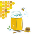 honey jar honeycomb and bee honey in jar with vector image