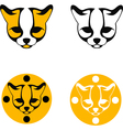 images ocelot head black and yellow silhouette vector image vector image