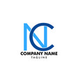 initial letter nc logo template design vector image vector image