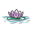 light purple lotus on water on white background vector image vector image