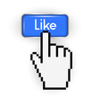 Like button and hand cursor vector image vector image