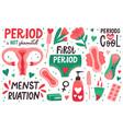menstruation hygiene female menstrual cycle vector image vector image