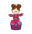 merry christmas little girl with ugly sweater vector image vector image