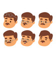 mustache man head character hair hipster vector image