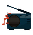 old radio stereo with music notes vector image
