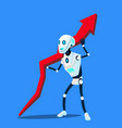 robot raises up business trend chart vector image