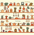 seamless pattern with kitchen shelves full of vector image vector image
