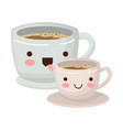 set big and small cup of coffee colorful kawaii vector image vector image