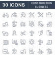 set line icons construction business vector image vector image