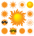 set sun on white background vector image vector image