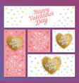 set valentines day cards with hearts and vector image
