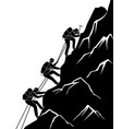 silhouette traveling people climbing on mountain vector image vector image
