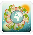 Small Planet with Little Town vector image vector image