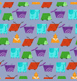 textured kids pattern with cute geometric animals vector image