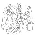 three wise men with jesus and mary vector image vector image
