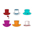 top hat icon set color outline style vector image vector image