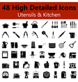Utensils and Kitchen Smooth Icons vector image vector image