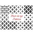 Victorian fleur-de-lis seamless patterns set vector image vector image