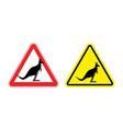 Warning sign of attention Kangaroo Hazard yellow vector image