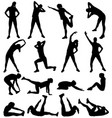 woman exercising silhouettes vector image