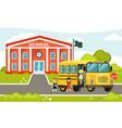 yellow bus near school passenger car vector image vector image