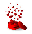 heart gift box with flying hearts vector image